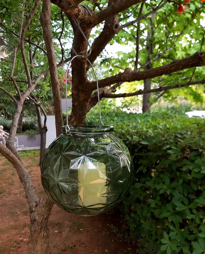 Lantern sphere glass green diameter 20 cm