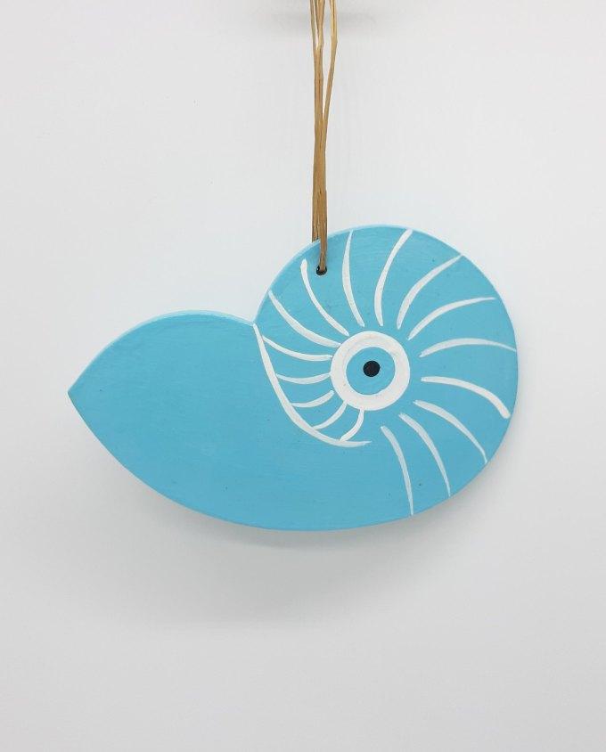 Seashell evil eye wooden handmade 17x12 cm color light blue
