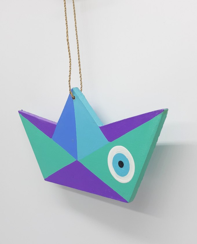 Boat Evil Eye Wooden Handmade Length 21.5 cm color Turquoise Purple