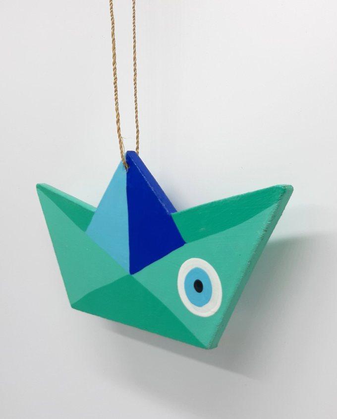 Boat Evil Eye Wooden Handmade Length 21.5 cm color Turquoise Blue