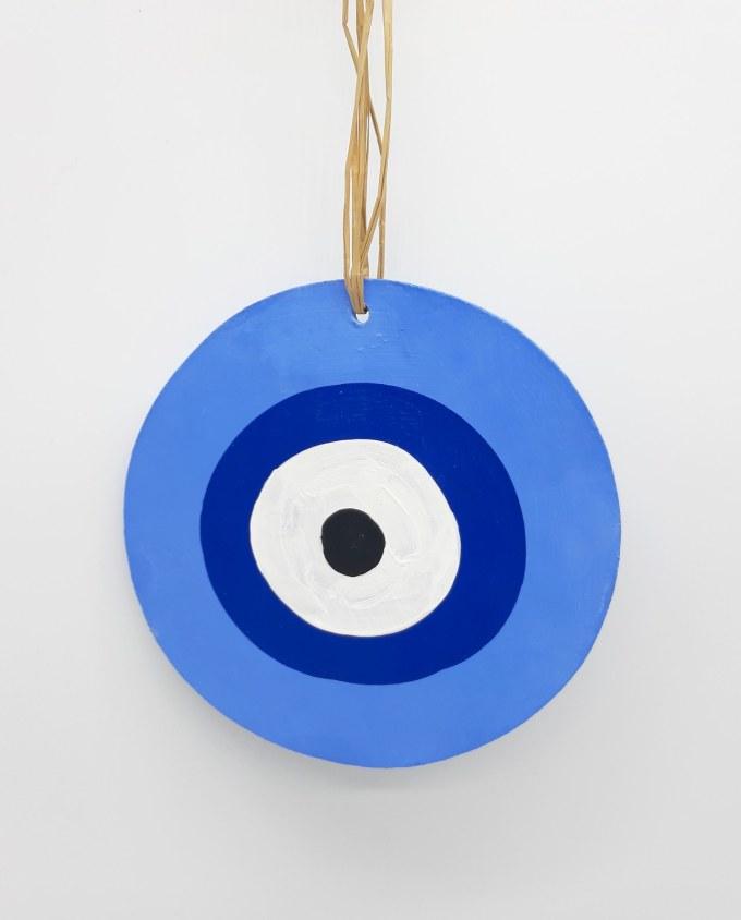 evil eye wooden handmade diameter 13cm color indigo