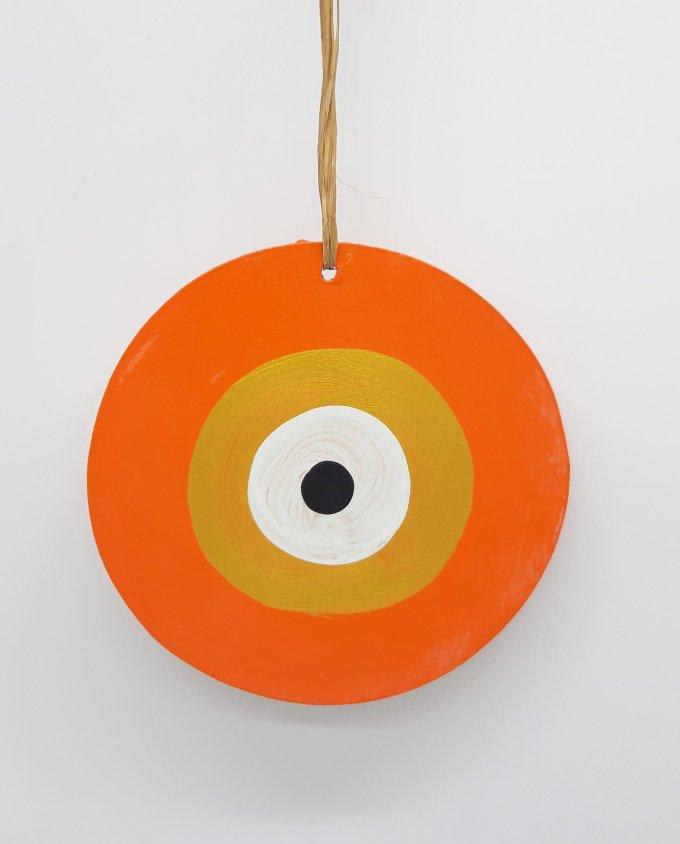 evil eye wooden handmade diameter 13cm color orange gold