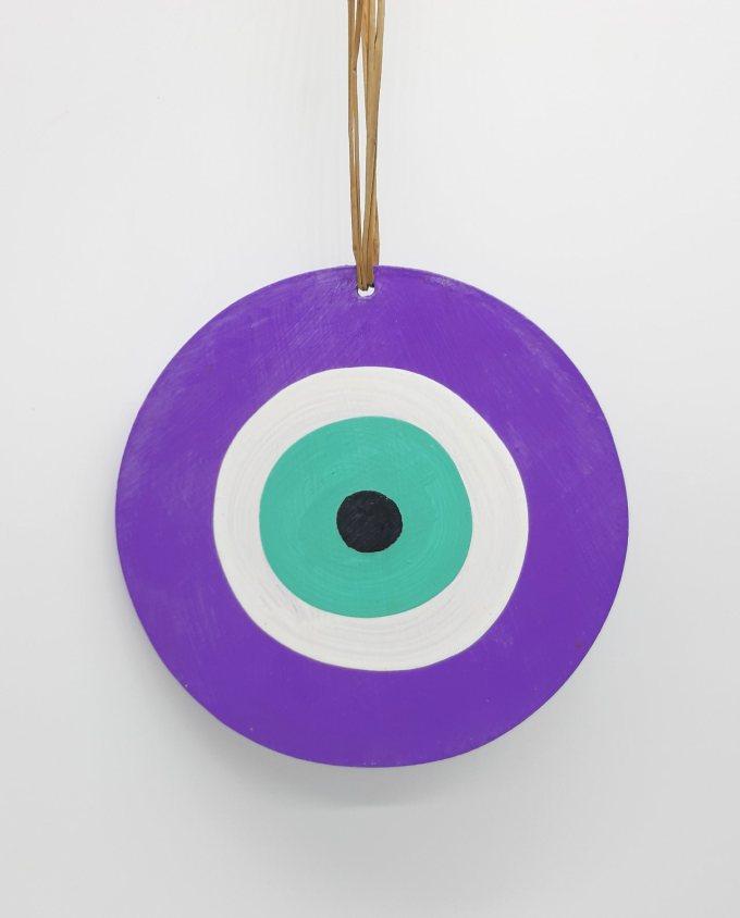 evil eye wooden handmade diameter 13cm color purple