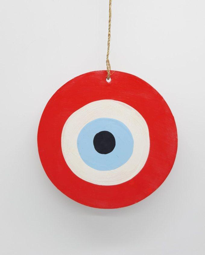 evil eye wooden handmade diameter 13cm color red