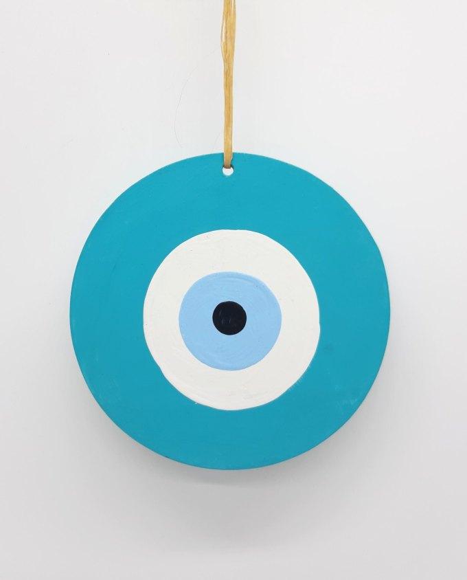 evil eye wooden handmade diameter 13cm color teal