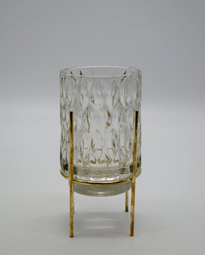 Tealight Pattern Glass on Metal Stand