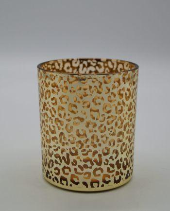 Tealight Glass Gold Leopard