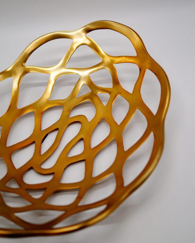 Platter Aluminum Gold Oval 40 cm