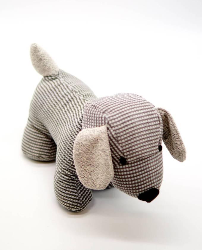 Door Stop Grey Fabric Dog