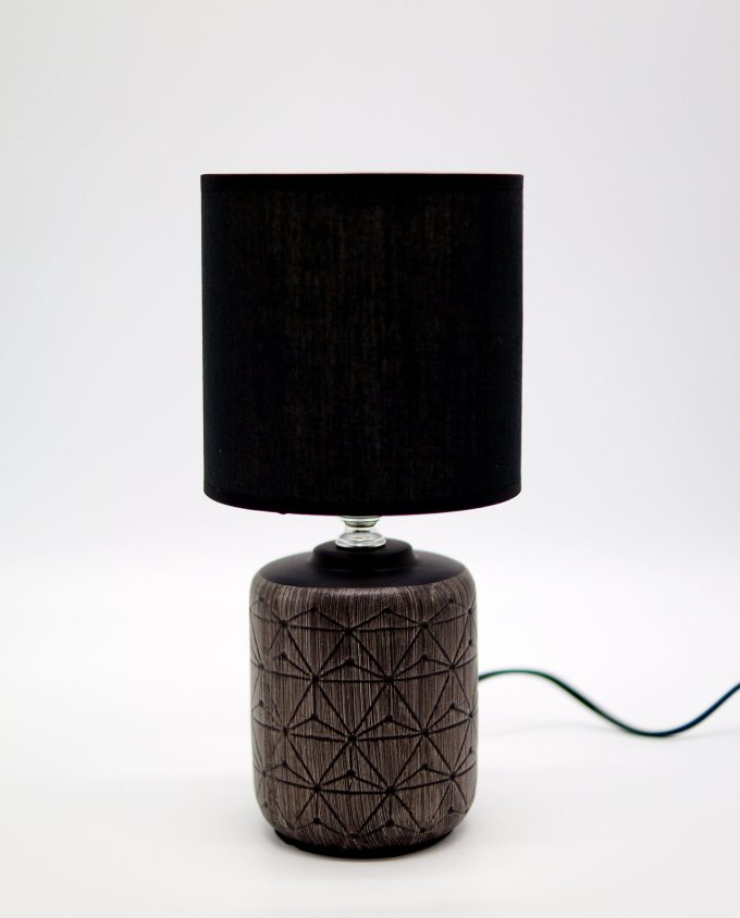 Table Lamp Ceramic Black Cylinder Base