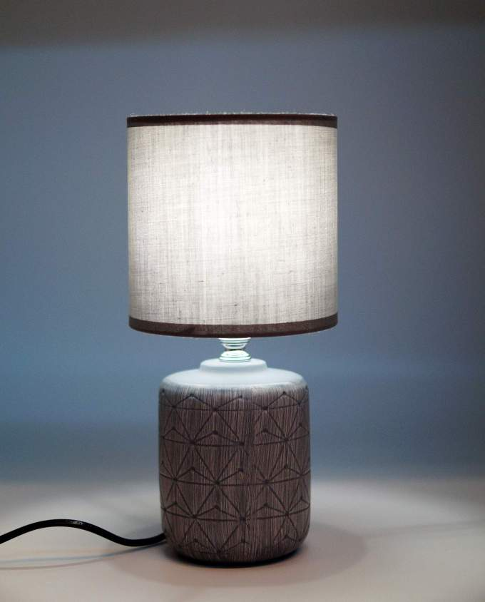 Table Lamp Ceramic Cylinder Grey Base
