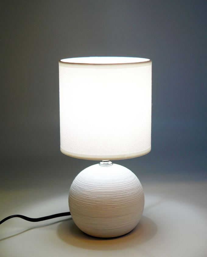 Side table lamp with white ceramic round base