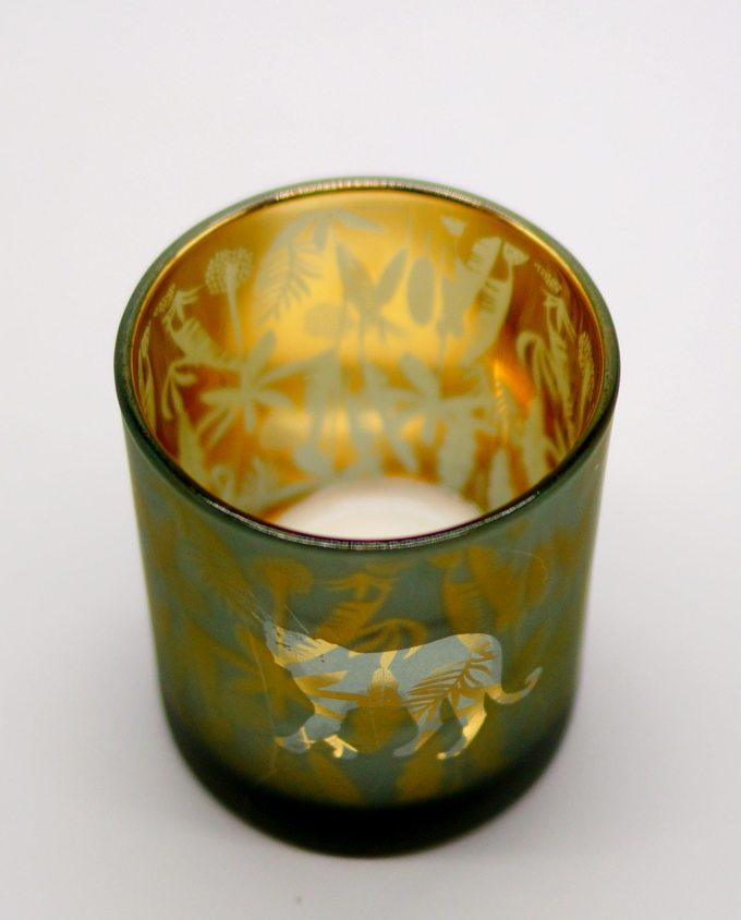 Votive of tealight green sandblast with panther