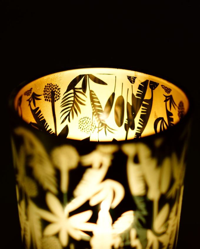 Tealight Panther Green Gold Height 8 cm