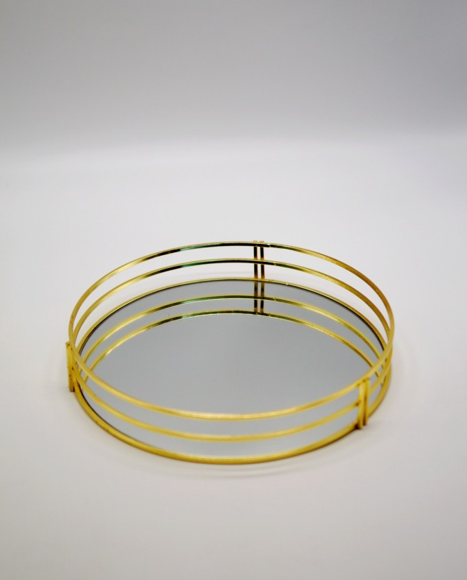 Tray Round Metal Gold Diameter 30 cm
