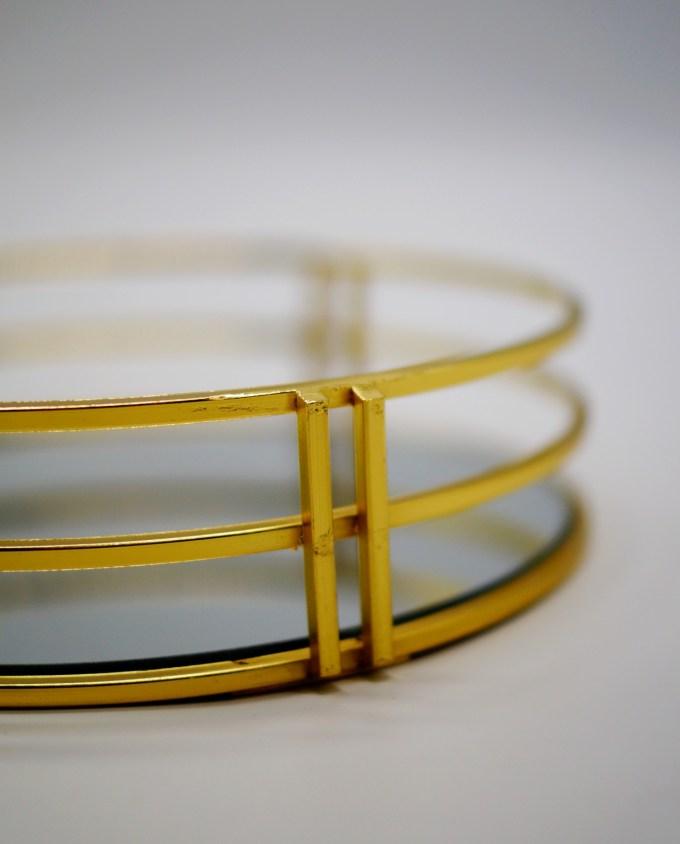 Tray Round Metal Gold Diameter 30 cm
