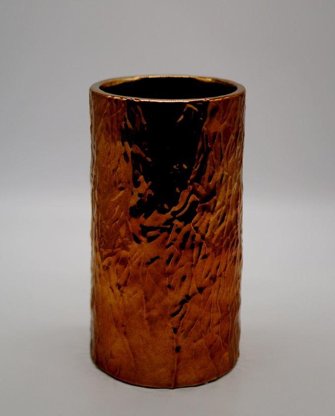 Vase Ceramic Metallic Brown Height 26 cm