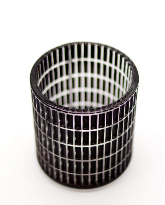 Tealight Black Glass Rectangular Pattern