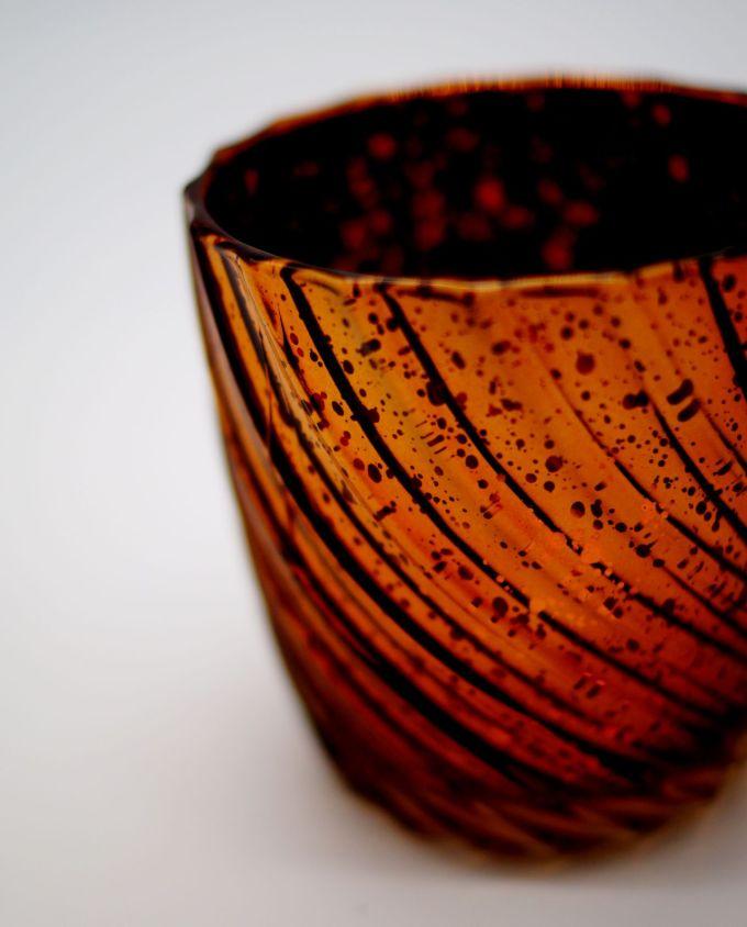 Tealight Glass Metallic Brown Waves