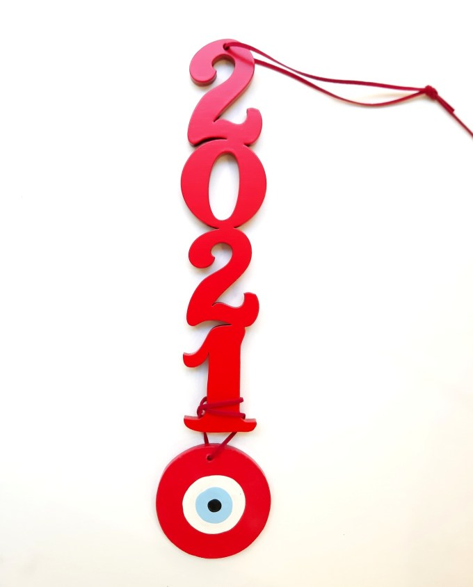 Lucky Charm Wooden 2021 with Evil Eye red