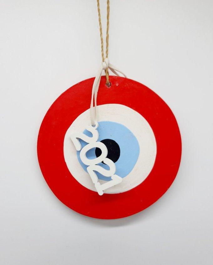Lucky Charm handmade Wooden Evil Eye 2021 red