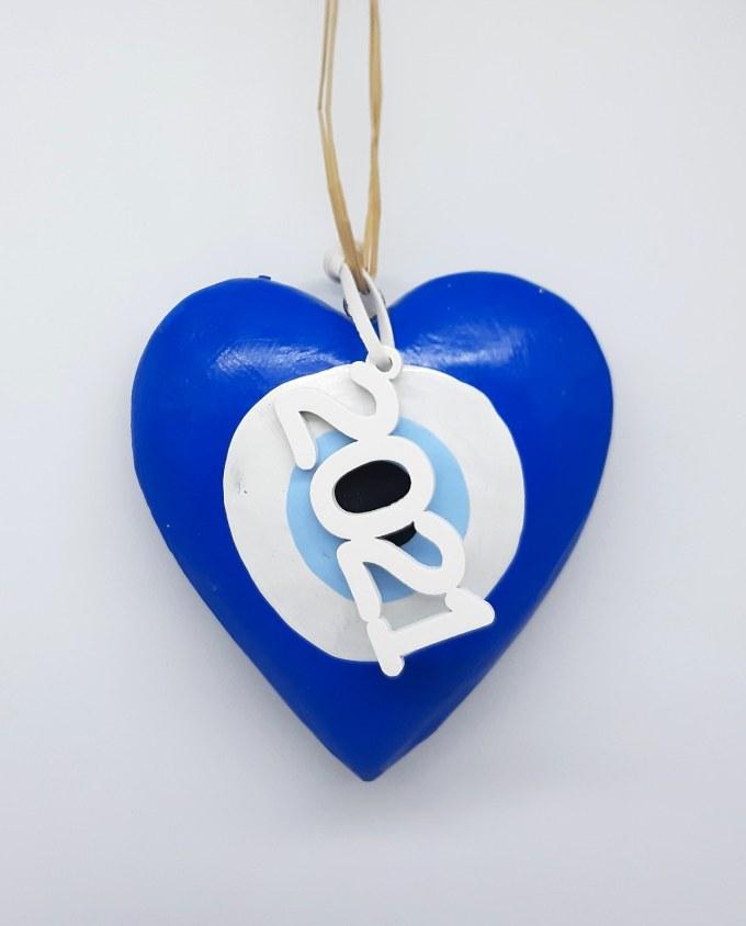 Lucky Charm Wooden Heart Evil Eye 2021 blue