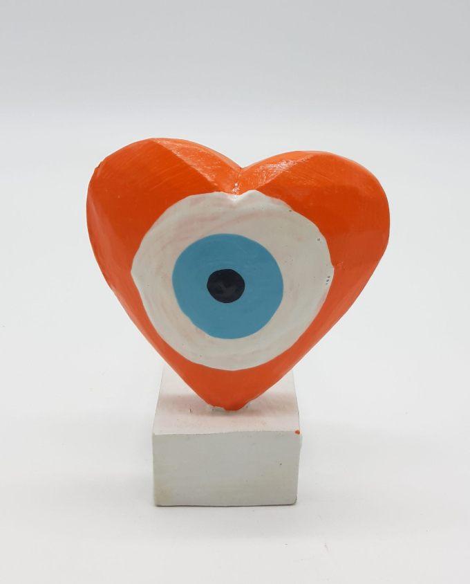 Σφήνα Πόρτας Χειροποίητη Ξύλινη Καρδιά Ματάκι χρώμα πορτοκαλί