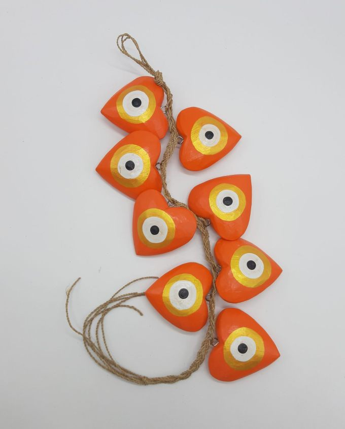 Garland 8 Wooden Hearts Evil Eye diameter 8cm Handmade Length 50 cm color orange gold