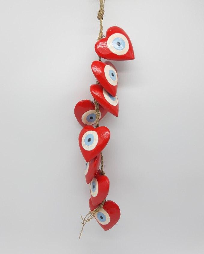 Garland 8 Wooden Hearts Evil Eye diameter 8cm Handmade Length 50 cm color red