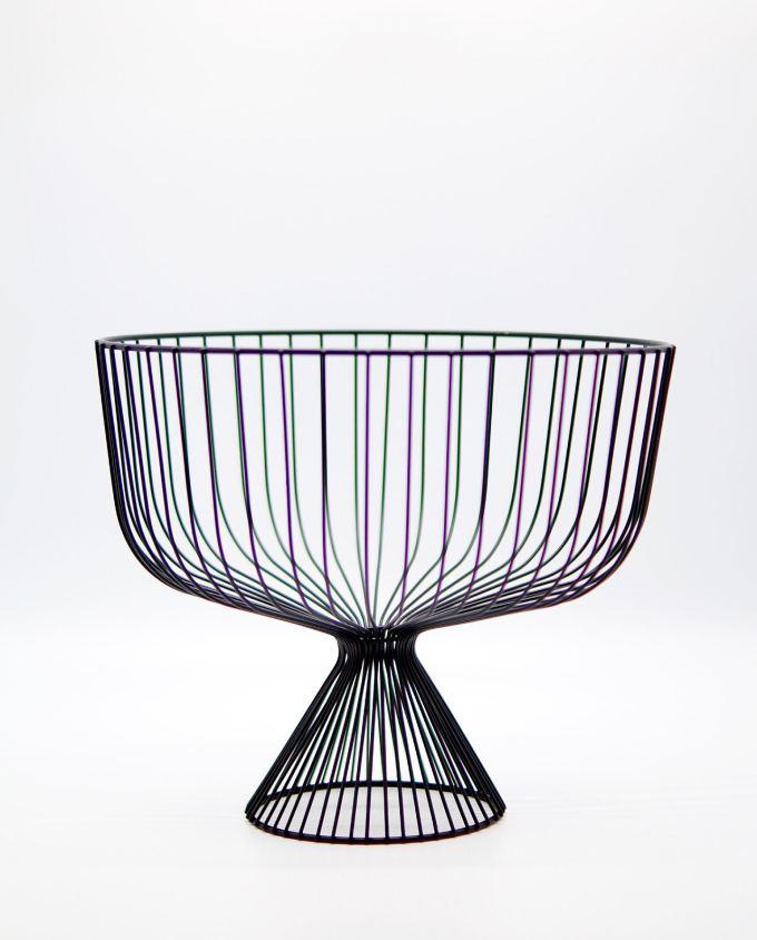 Bowl Metallic Black Stand Height 25 cm