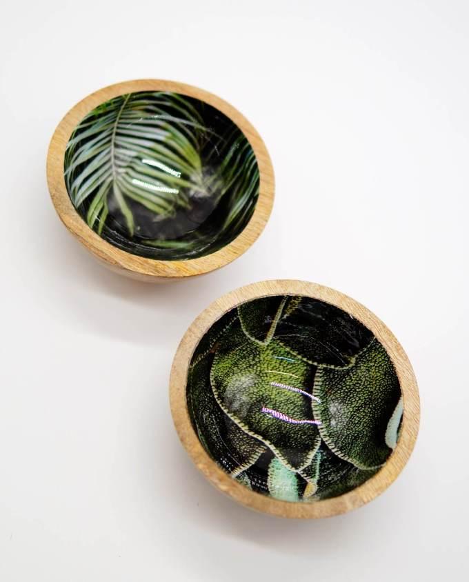 Μπωλάκια ξύλινα με ζωγραφιες φύλλων