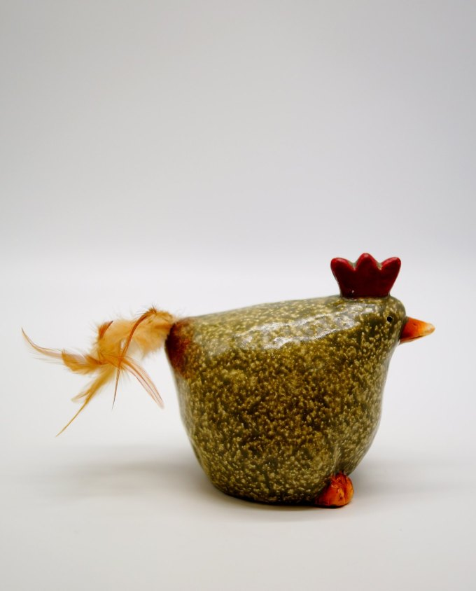 Chicken Ceramic with Feather Height 16 cm