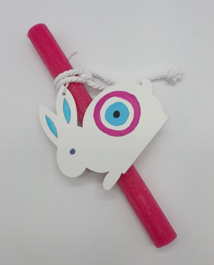 Easter Candle Wooden Bunny Evil Eye Fuchsia