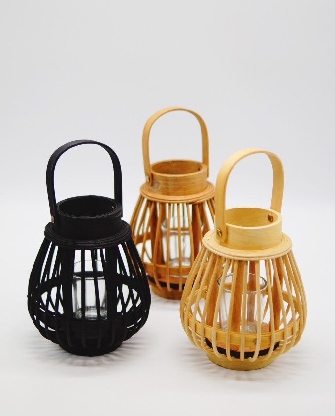 Lanterns made of  bamboo with tealight glass included