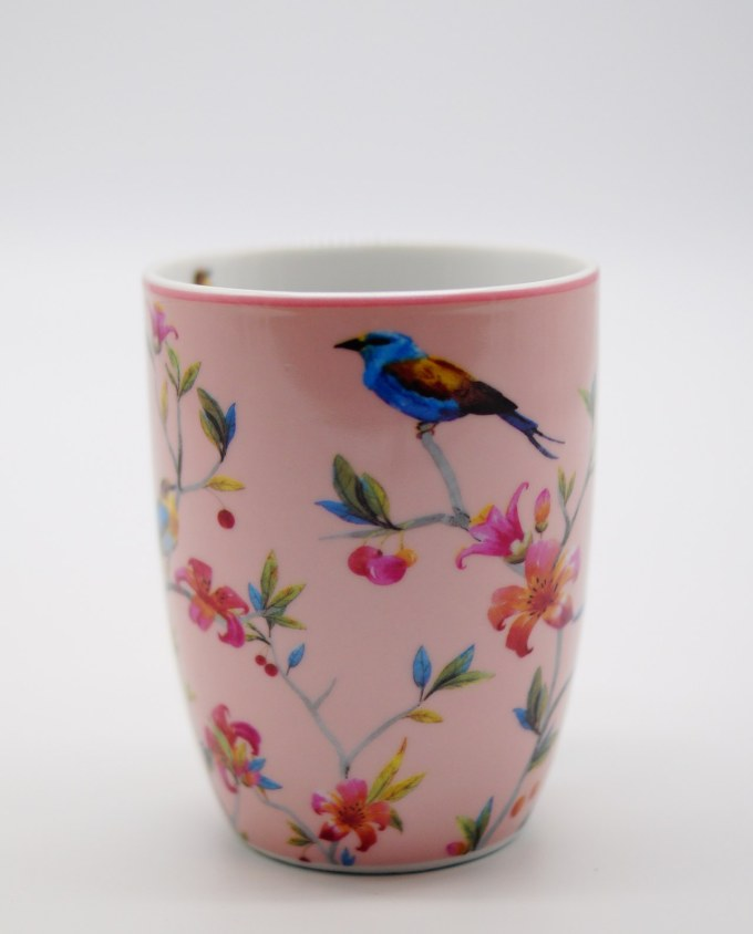 Mug Porcelain Pink with Flowers