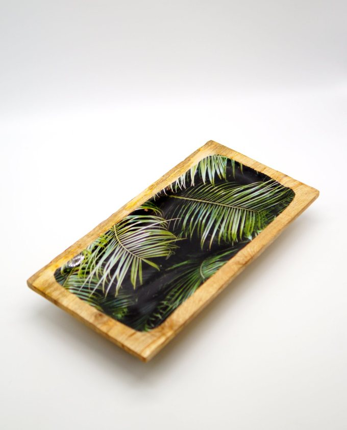 Platter wooden from Mango wood, light brown with inside leaves pattern