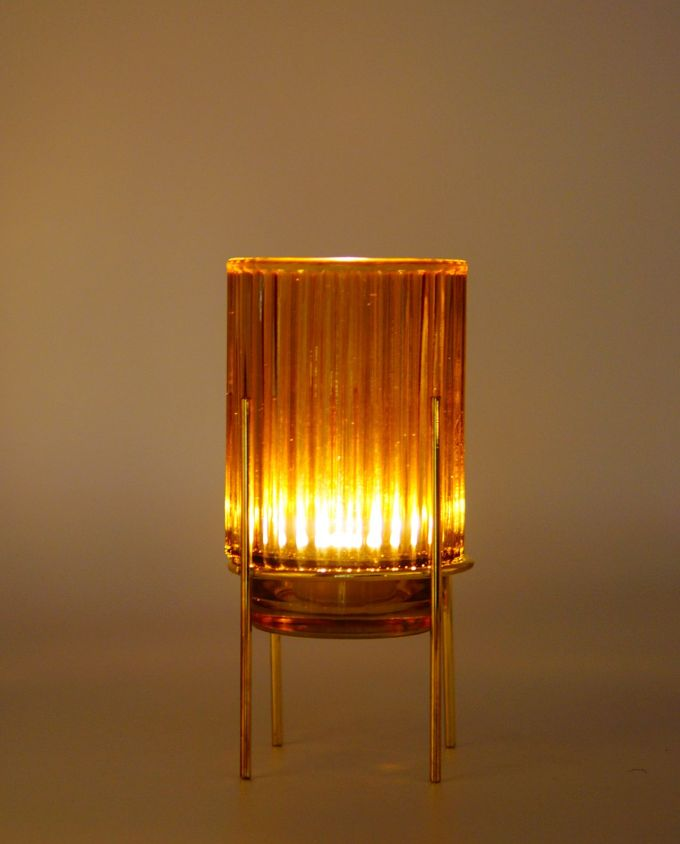 Tealight Yellow Glass on Metal Stand Lighted