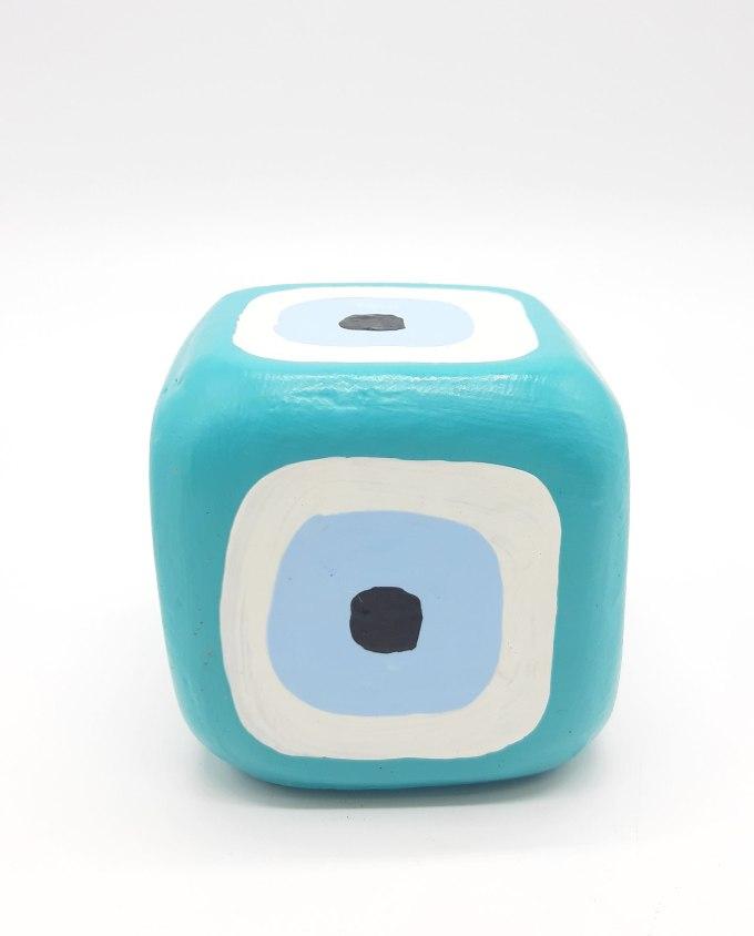 Cube Evil Eye Wooden Handmade 8.5 cm x 8.5 cm x 8.5 cm color teal