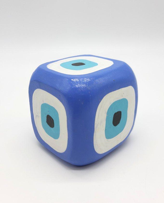 Cube Evil Eye Wooden Handmade 8.5 cm x 8.5 cm x 8.5 cm color indigo