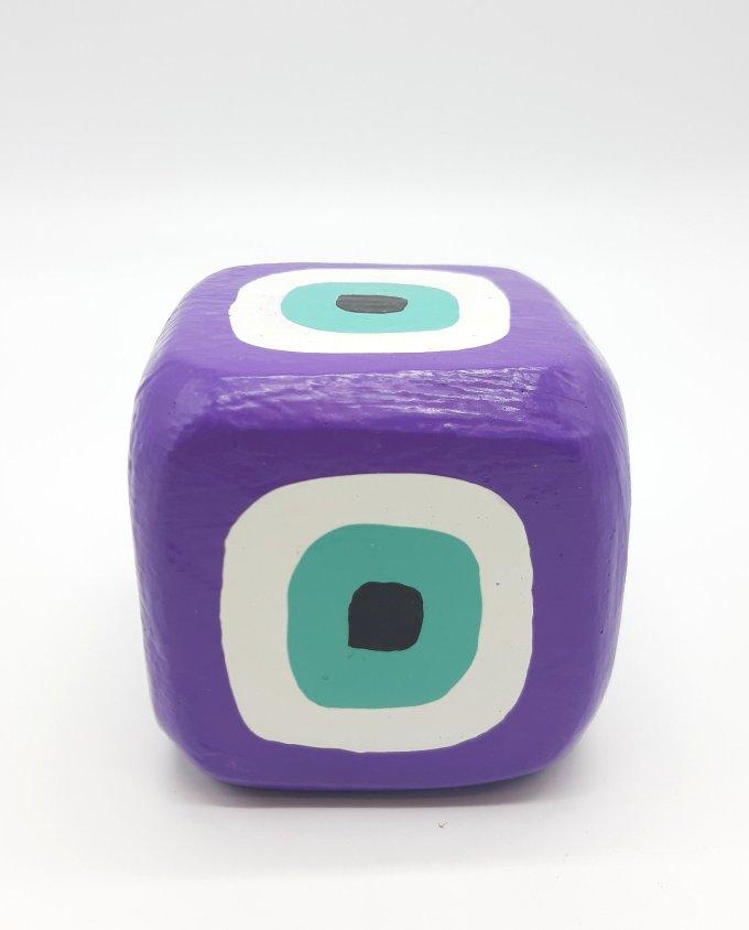 Cube Evil Eye Wooden Handmade 8.5 cm x 8.5 cm x 8.5 cm color purple