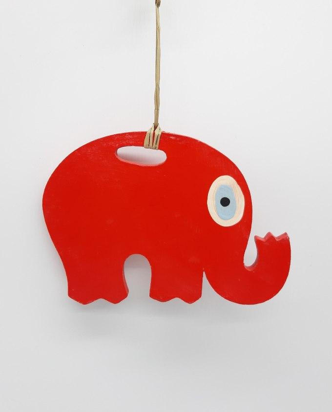 Ελέφαντας Ματάκι Ξύλινος Χειροποίητος Μήκος 18 cm μωβ