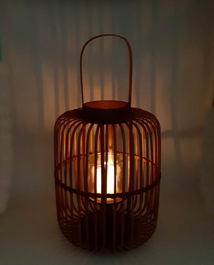 Lantern made of brown color bamboo with glass included height 43 cm