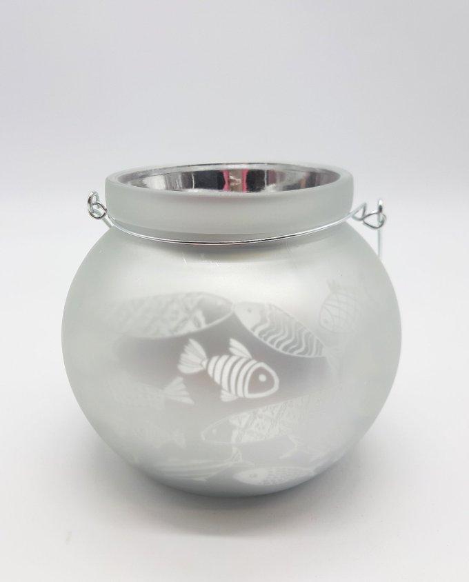 Round white lantern for votive with fish pattern