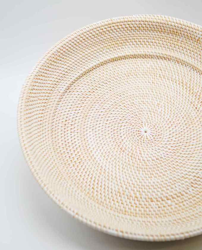 Bowl from Rattan white color, Dimension: height 10 cm, diameter 55 cm