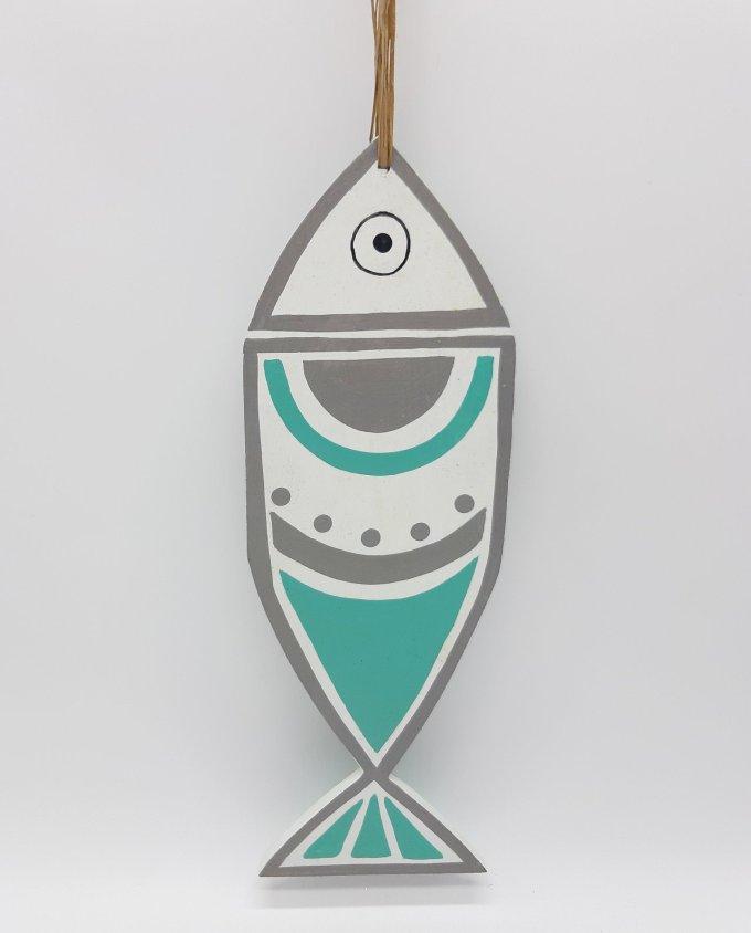 Ψάρι Ξύλινο Χειροποίητο New Greek Κύκλοι Άσπρο- Τυρκουαζ, Χειροποίητο και ζωγραφισμένο στο χέρι και από τις δύο πλευρές. Διάσταση: 33 cm x 11 cm, πάχος 1 cm