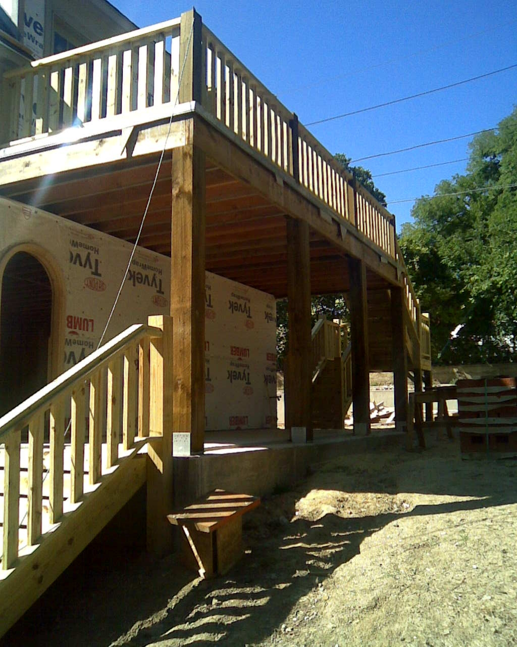 3D Pressure Treated Balcony With Handrail Fences Decks By T | Pressure Treated Deck Stairs | Flared | 5 Foot | Landing | Pre Built | Simple