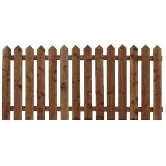 Pointed Top Picket Fence Panel - 6'x2'