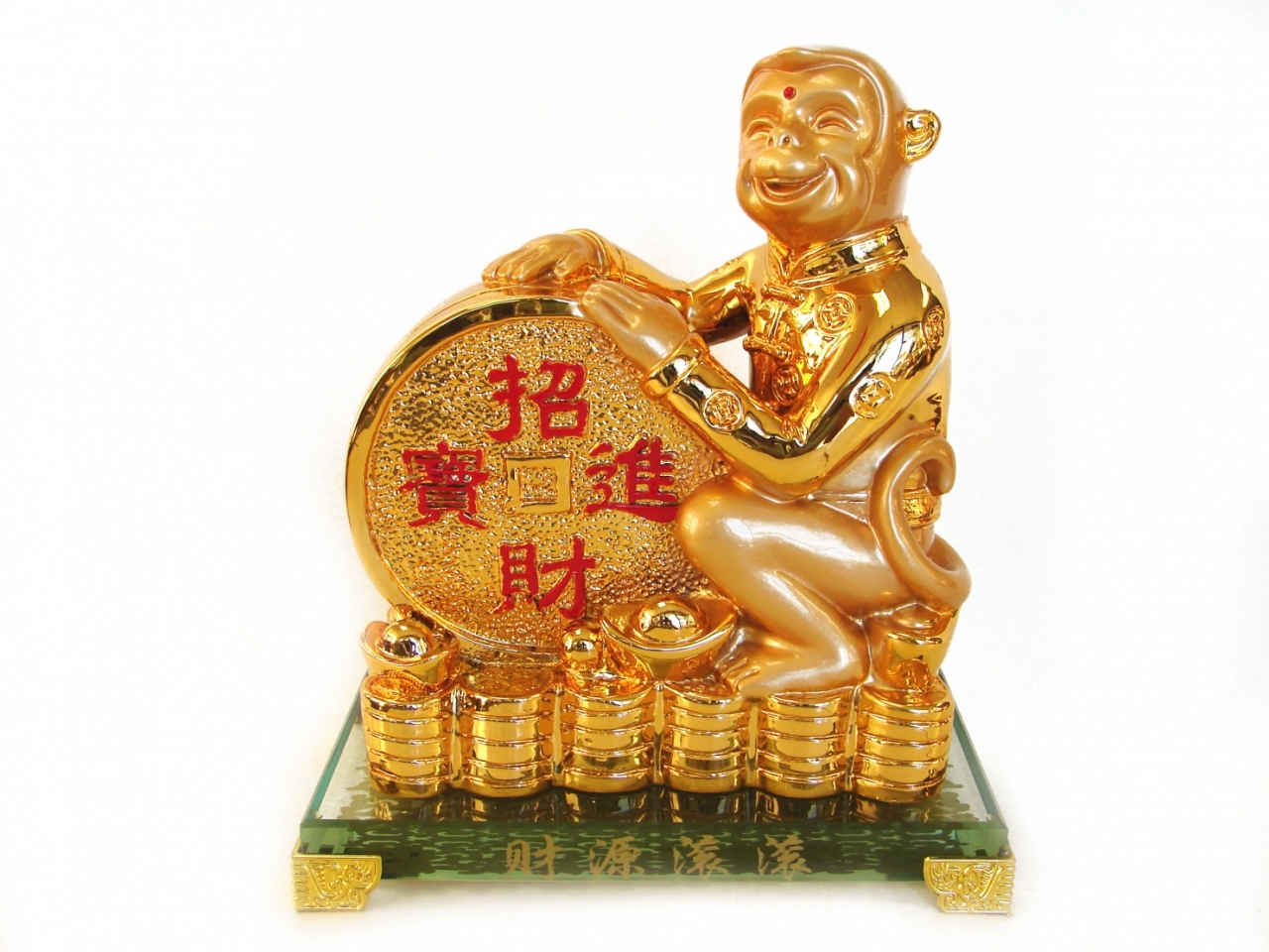 Golden Monkey Statue with Feng Shui Coin for Year of