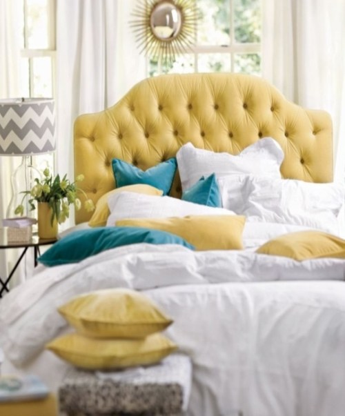Ideas for Bedrooms Bed with Yellow Tufted Headboard Chevron Lamp Shade Sunburst Mirror
