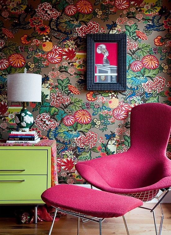 Home Design Fuchsia Chair and Ottoman Set with Bright Fun Floral Wallpaper and Lime Green Dresser with Busy Floral Lamp